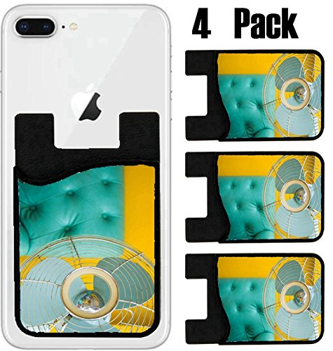 MSD Phone Card holder, sleeve/wallet for iPhone Samsung Android and all smartphones with removable microfiber screen cleaner Silicone card Caddy(4 Pack) the old fan with classic sofa vintage stye on y (Microfiber Classic Sofa)