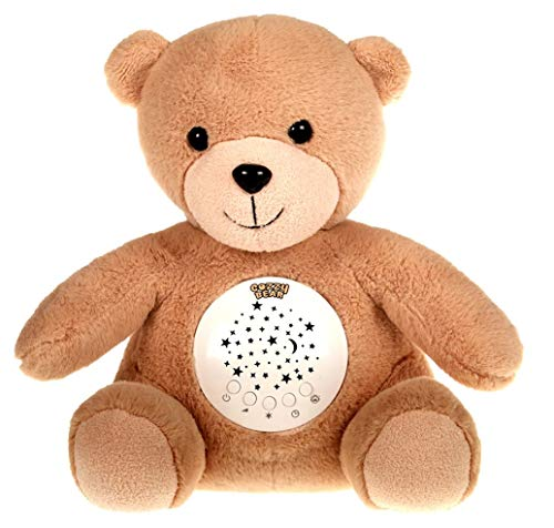 InfantBay Cozzy Bear Baby Sleeping & Calming Aid | Rechargeable Sound Machine with Lullabies & White Noise | Star Projector | Crib Soother for Infants Bedtime | Best Gifts Registry for Baby Shower