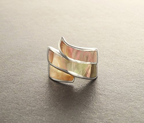 - Copper MOP Ring - Wide Ring - Infinity Ring - Sterling Silver - Mother-of-Pearl Gemstone