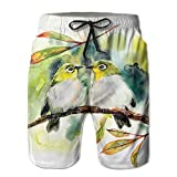 NGFF Couple of Little Green Birds Summer Casual Style Adjustable Beach Home Sport Shorts
