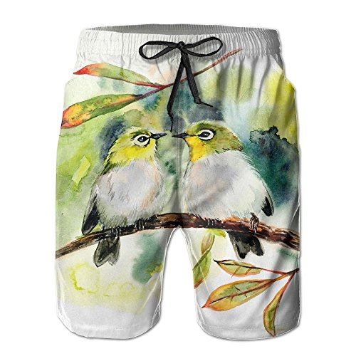 NGFF Couple of Little Green Birds Summer Casual Style Adjustable Beach Home Sport Shorts by NGFF