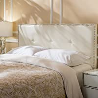 Labelle Studded Edge Fabric Queen/Full Headboard (Ivory)