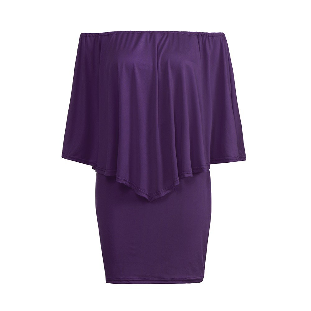 kemilove Women Off Shoulder Ruffles Bodycon Mini Dress