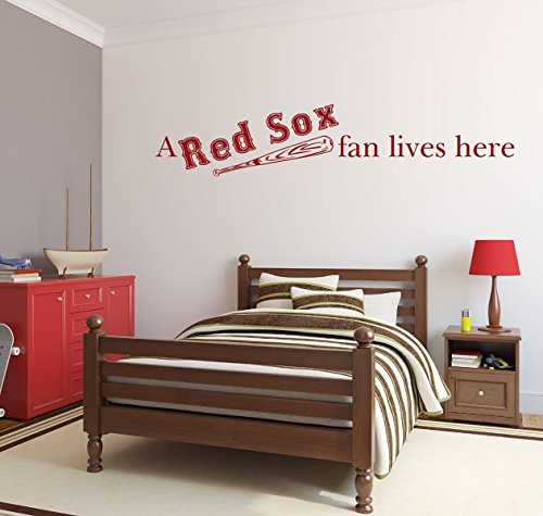 Sox Team Design (Red Sox Fan With Bat Boston Baseball Sports Team Athlete Kid's Bedroom Decor Vinyl Wall Decal)