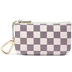 Daisy Rose Luxury Zip Checkered Key Chain pouch   PU Vegan Leather Mini Coin Purse Wallet with clasp