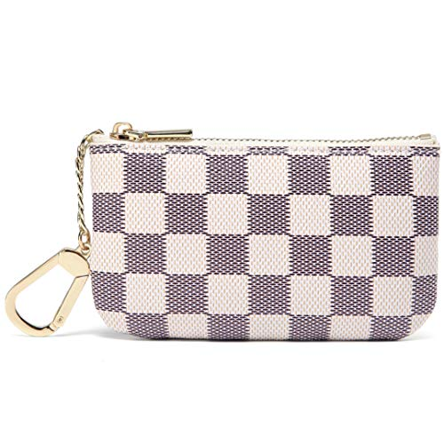 Daisy Rose Luxury Zip Checkered Key Chain pouch | PU Vegan Leather Mini Coin Purse Wallet with clasp