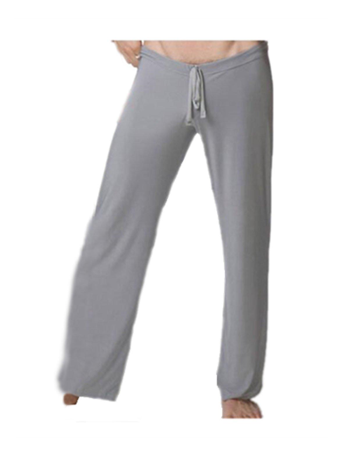 Leright Men's Yoga Long Pants Loose-Fitting Pajama Trousers Lounge Sleep Pants, Grey, L(US Size M)