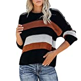 Women's Long Sleeve Color Block Sweater Crew Neck Striped Patchwork Pullover Button Down Knitted Crop Jumper Tops Khaki