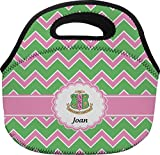 Pink & Green AKA Chevron Personalized Lunch Bag - Large