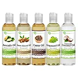 5 Piece Variety Carrier Oil Set, Coconut Oil, Castor Oil, Grapeseed Oil, Avocado Oil and Sweet Almond Oil, 4 fl oz Each, By Premium Nature
