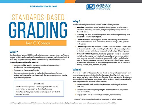 Standards-based Grading Quick Reference Guide