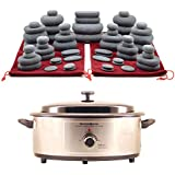 MassageMaster HOT STONE MASSAGE KIT: 60 Basalt Stones in Drawstring Bags + 6.5 Quart Heater