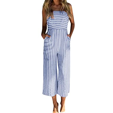 b4e9ea9e7a8 Womens Jumpsuit Stripe Printing Sleeveless Long Playsuits Elegant Ladies  Jumpsuit  Amazon.co.uk  Clothing
