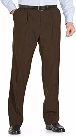 Austin Reed Self Sizer Wool Blend Pleated Front Big Size Dress Pant 46w X Unfinished Brown At Amazon Men S Clothing Store