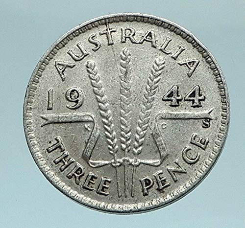 1944 AU 1944 AUSTRALIA - Threepence SILVER Coin - UK King coin Good Uncertified