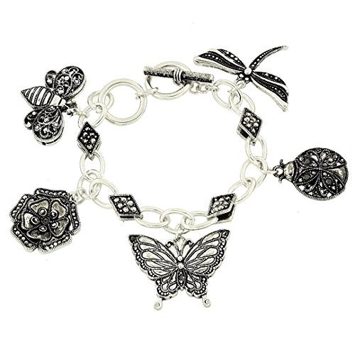 Marcasite Toggle Clasp - Garden Theme Charm Bracelet BJ Marcasite Look Detail Texture Silver Tone Butterfly Dragonfly