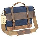 Manificent bolso de mensajero de 16 pulgadas para hombre, lona encerada de cuero genuino bolso de talego grande de lona impermeable bolso de ordenador portátil de lona de cuero, tableta bolso de mensajero, (azul)