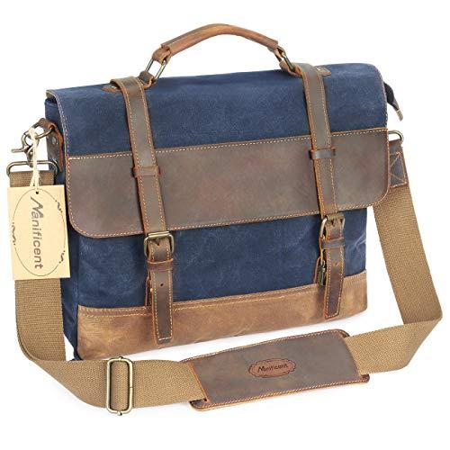 Leather Extra Large Bag Stick - Manificent 16 Inch Men's Messenger Bag, Vintage Waxed Canvas Genuine Leather Large Satchel Shoulder Bag,Briefcase Waterproof Canvas Leather Computer Laptop Bag, Tablet Messenger Bag, Blue