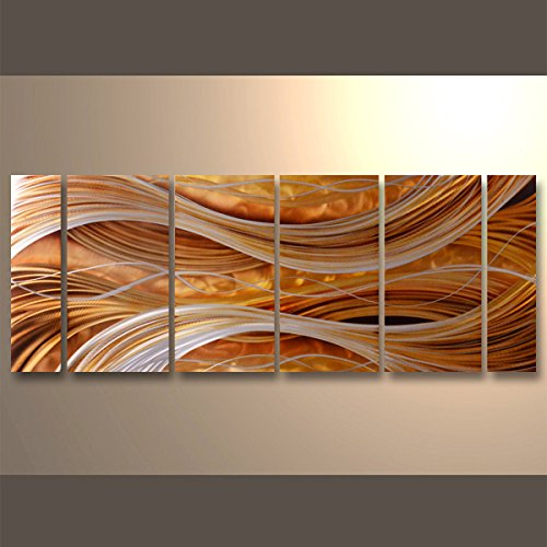 Handmade Abstract Group Contemporary Metal Wall Art With Soft Color (24 x 65 IN) by Yihui Arts