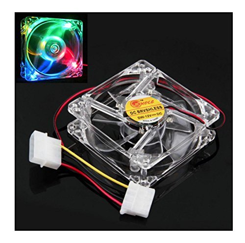 Fullkang Colorful Quad 4-LED Light Neon Clear 80mm PC Computer Case Cooling Fan Mod Best 80 Mm Case Fan