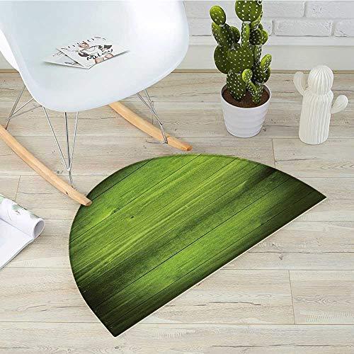 (Forest Green Half Round Door mats Horizontal Wooden Planks Rough Oak Timber Structure Surface Texture Image Bathroom Mat H 31.5