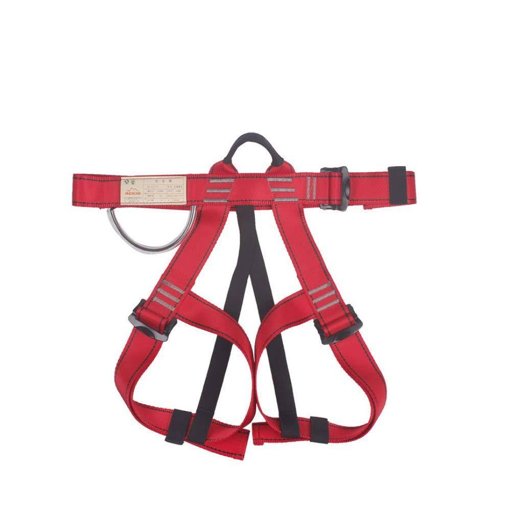 Harnais d'escalade en Plein air Alpinisme sécurité Ceinture de sécurité moitié du Corps Guide Harnais équipement Professionnel Escalade Descente en Rappel Rouge mxdmai