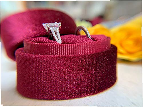 (The Lux Box: Gorgeous Antique Velvet Geometric Ring Boxes for Proposals and Wedding Photos || Hexagon and Oval || Single or Double Rings || Fits Wide & Slim Bands (Burgundy Wine Oval Double Ring))