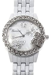 Geneva Stainless Steel Rhinestone Crystal Butterfly Mother of Pearl Watch
