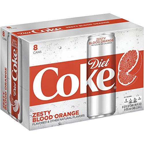 Diet Coke Zesty Blood Orange, 12 fl oz, 8 (Sugar Diet Soda)