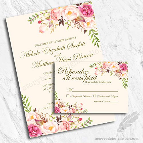 Pink Floral Wedding Invitations and RSVP Cards (Set of 10) Envelopes Included -