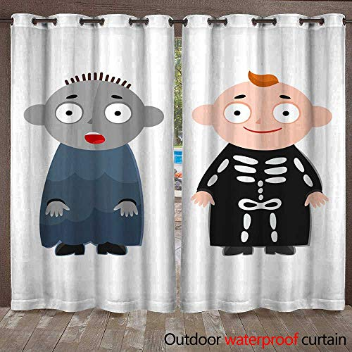 RenteriaDecor Outdoor Curtain for Patio Vector Illustration of Cute Kids Wearing Halloween Costumes W72 x L108]()