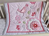 NAUGHTYBOSS Girl Baby Bedding Set Cotton 3D Embroidery Bird Flowers Quilt Bumper Bedskirt Mattress Cover 7 Pieces Pink