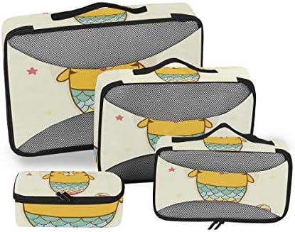 かわいいタイガーマーメイドビーチ荷物パッキングキューブオーガナイザートイレタリーランドリーストレージバッグポーチパックキューブ4さまざまなサイズセットトラベルキッズレディース