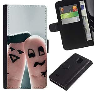 JackGot ( Finger divertente coppia ) Samsung Galaxy Note 4 IV la tarjeta de Crédito Slots PU Funda de cuero Monedero caso cubierta de piel