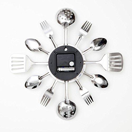 Uniquebella Metal Kitchen Cutlery Utensil Wall Clock Spoon: Contemporary Kitchen Utensil Clock