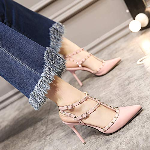 Thin And Summer KPHY Spring Head Four Shoes Thirty Sandals High 10Cm Shoes Heeled Rivets Shoes Buckles Pink Shallow With Women'S qxXY8q