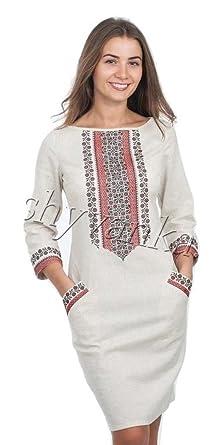 9c1c3b1ffd2 Vyshyvanka Modern Women s Ukrainian Dress Real Embroidery. at Amazon ...