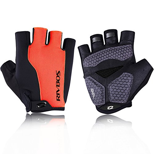 RIVBOS Motorcycle Bicycle Mountain Bike Gloves for Men Women Cycling Riding Driving Sports Outdoors Exercise with Fingerless Fashion Design Foam Padding Breathable Mesh CHG002 (Orange M)
