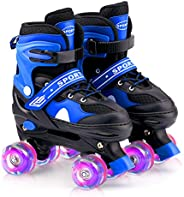 AUXSOUL Roller Skate, Adjustable Double-Row Roller Skates with Illuminating Light Up Wheels Outdoor Indoor for