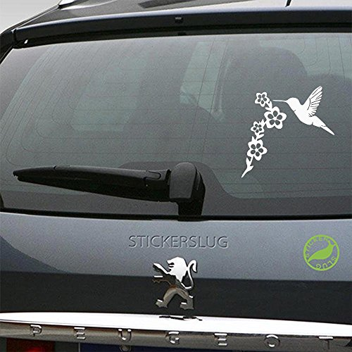 Hummingbird Flower Decal (gloss white, 5 inch) for car truck window suv boat motorcycle and all other auto glass and bumper in gloss vinyl - Extreme White Flowers
