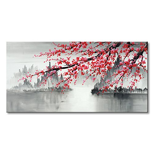 Traditional Chinese Painting Hand Painted Plum Blossom Canvas Wall Art Modern Black and White Landscape Oil Painting for Living Room Bedroom Office Decoration (48x24 inch) (Framed Painting Chinese)