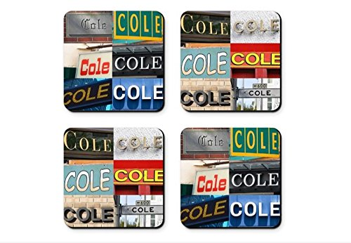 Personalized Coasters featuring the name COLE in sign photos (set of 4)