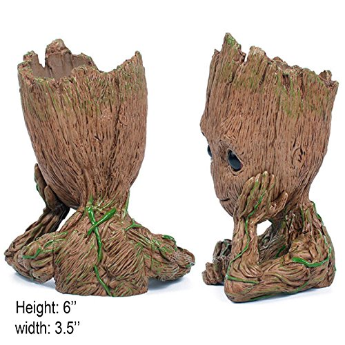 B-Best Guardians of The Galaxy Groot Pen Pot Tree Man Pens Container Or Flowerpot with Drainage Hole Perfect for a Tiny Succulents Plants and Best Gift Idea 6'' by B-BEST (Image #6)'