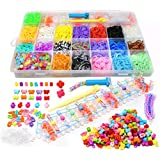 JOYIN 5800+ DIY Rubber Bead Looms Band Bracelet Maker Kit with Mega Rainbow Color Refill Bands, Beads and S Clips, Board and Organizer for Christmas Stocking Stuffers, Holiday Xmas Gift Party Favor Supplies