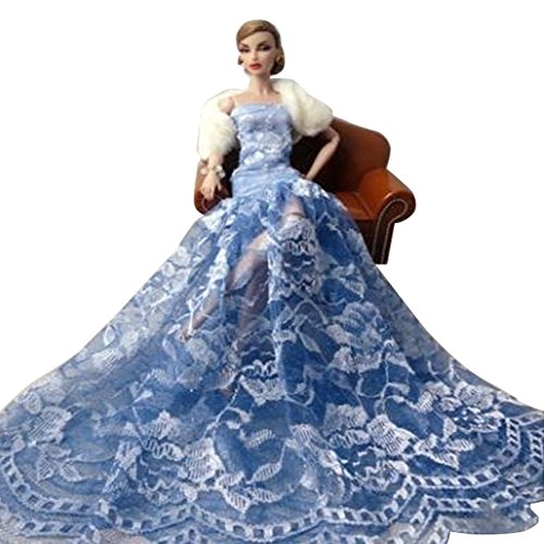 Luxurious Elegant Chinese Blue And White Porcelain Design Elements Floor Length Bridal Gown,For Barbie Dolls(With A White Shawl)
