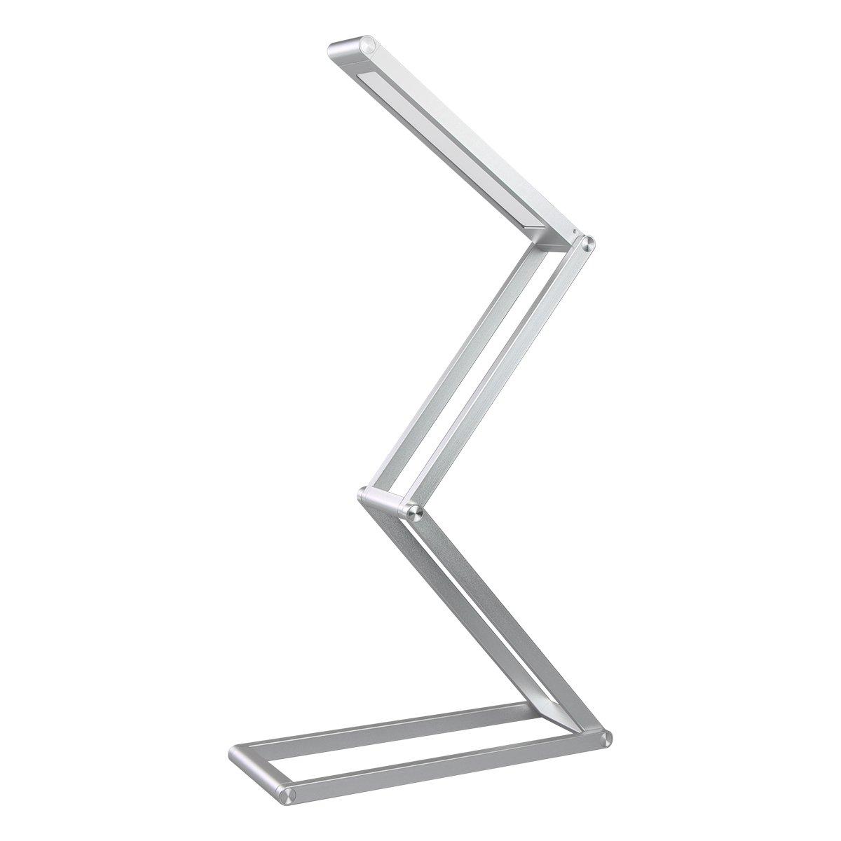 Dimmerabile e Multiforme 3W Lampada Comodino Ricaricabile in Alluminio Colore Argento 3 Livello di Luminosit/à Eye-Cura LED Portatile Elzo