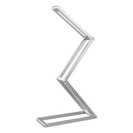 Elzo Lámpara de Mesa Portátil de Aluminio, Lámpara LED Escritorio USB Recargable con 2 Niveles de Brillo y Múltiples Ángulos Ajustables, Lámpara de ...