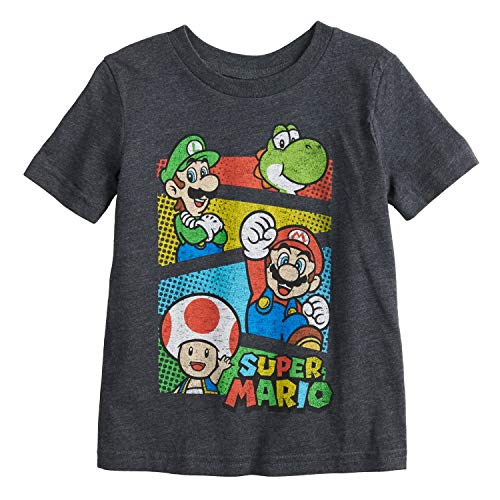 - Jumping Beans Little Boys' Toddler 2T-5T Super Mario Crew Tee 5T Gray