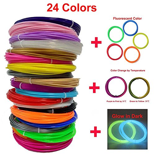 CCTREE 3D Pen Filament 3D Printer pen PLA 1.75mm Refill Filament Pack, 20 Feet Per Color With 24 Colors Including Glow in the Dark & Color Changing & Fluorescence Color