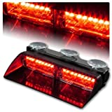 16 LED High Intensity Law Enforcement Strobe Light w/ Suction Cups, for Car Truck SUV Interior Roof / Dash / Windshield, DC12V, T Tocas, Red